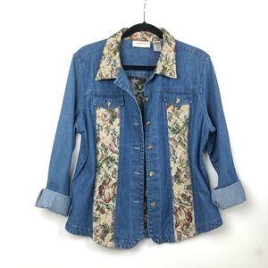 Vintage Denim Shirt/Jacket Floral Tapestry L